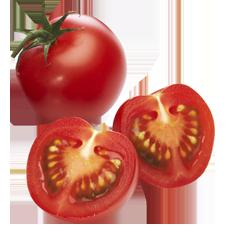 Tomatankerne in einer aufgeschnittenen Tomate
